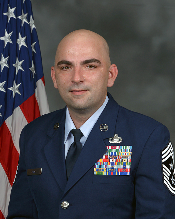 Photo of Chief Master Sgt. Kevin A. Paul, 557th Weather Wing command Chief.
